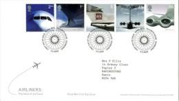 GROSSBRITANNIEN GRANDE BRETAGNE GB 2002 AIR LINERS FDC SG 2284-88 MI 2012-16 SC 2047-51 YV 2328-32 - 1952-.... (Elizabeth II)