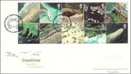 GB 2002 COASTLINES FDC SG 2265-74 MI 1993-2002 SC 2029-38 IV 2312-21 - 1952-.... (Elizabeth II)