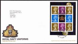 GB 2009 FROM ROYAL NAVY UNIFORMS PRESTIGE BOOKLET PANE ON FDC - 1952-.... (Elizabeth II)