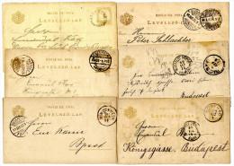 Hungary 6 Old Stationeries Pmk. Jászberény, Budapest, Esztergom, Bicske, Pinczehely, Bonyhád Travelled 1890s Bb151104 - Postwaardestukken