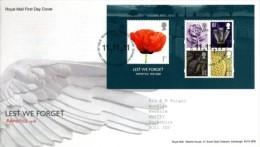 GB 2008 LEST WE FORGET MS FDC SG MS2886 MI B47-2692 SC SH2614A IV BF60-3079-83 - 1952-.... (Elizabeth II)