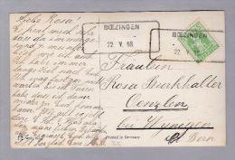Heimat BE Boezingen 1908-05-22 Aushilfs-Stempel Auf AK Nach Oenzlen - Suisse