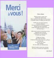 Marque-page °° Religion ° Merci Du Denier Du Culte Catho Paris Prière à Marie JPII  - Pli Coin Haut Gauche  °-°  7 X 13 - Marcapáginas
