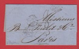 A  //  Lettre  //  De Londres   //  Pour Paris  // 19 Janvier 1854  //  Cachet Retard Convoi - Postmark Collection