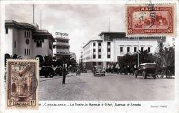 CASABLANCA - La Poste La Banque D' Etat, Avenue D'Amade,1937, 2 Sondermarken, Als Flugpost Gel.1937 - Casablanca