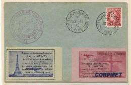 FRANCE - 1946 SALON DE L´AERONAUTIQUE - Premier Vol Angleterre-France Por Le NENE 2 Vignettes - Luftfahrt