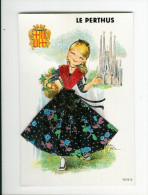 Brodées - Enfants - Illustrateur - Carte Brodée - Le Perthus - Semi Moderne Grand Format - Bon état Général - Embroidered