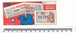 Billet De La Loterie Nationale - La Nouvelle République , 1962 - Billetes De Lotería