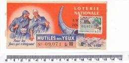 Billet De La Loterie Nationale - Mutilés Des Yeux, 1958 - Billetes De Lotería