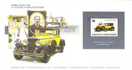 International Auto Federation Display Card With Mint Grenada-Grenadines Stamp - DOBLE STEAM CAR - Cars