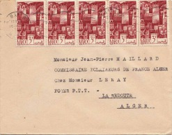 MAROKKO - Alter Brief Mit 5er Streifen 3 F, Gel.v.Rabat N.La Redoute - Marokko (1956-...)