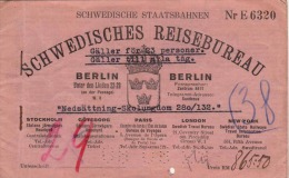 TICKET HEFT D.SCHWEDISCHEN STAATSBAHNEN 1929, Heft Ohne Tickets - Titres De Transport