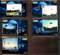 CNC JAPAN SERIE COMPLETA 5 PHONECARD Nuove TEMATICA UFO DISCHI VOLANTI OVNI ALIEN - Giappone