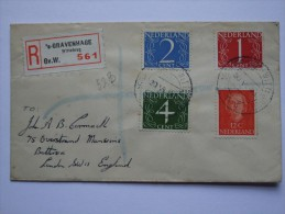 NETHERLANDS 1950`S REGISTERED COVER GRANVENHAGE TO ENGLAND - Period 1949-1980 (Juliana)
