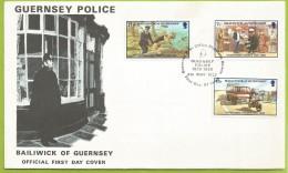 Guernesey 1980 201 à 203 FDC 60ème Anniversaire Police Femme-agent Moto Chien Policier - Police - Gendarmerie