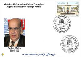 Algérie N° 1724 FDC REDHA MALEK Ministre Algérien Des Affaires Etrangères - Journée De La Diplomatie - Algérie (1962-...)