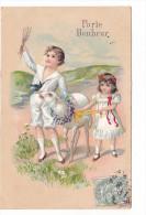 25183 Enfant Scene Paysage Fillette Mouton Dessin -Porte Bonheur -relief -ed ? - Scènes & Paysages