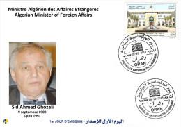 Algeria N° 1724 FDC SID AHMED GHOZALI Ministre Des Affaires Etrangères - Journée De La Diplomatie - Célébrités