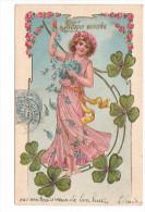 25190 Bonne Année , Trefle Femme Fée, En Relief , Doré - Sans Ed -