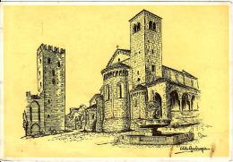 Emilia Romagna, Prov. Di Piacenza, Castell' Arquato, La Piazzetta Della Rocca E La Basilica, Circolato No - Piacenza
