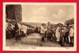 Prisonniers Russes En Belgique. L'appel. Feldpostkarte 1914-18 - War 1914-18