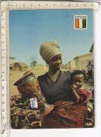 PO3452D# COSTA D'AVORIO - ABIDJAN - KATIOLA - VENDEUSE DE POTERIES - DONNE CON BAMBINI  VG 1974 - Costa D'Avorio
