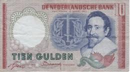BILLETE DE HOLANDA DE 10 GULDEN DEL AÑO 1953  (BANKNOTE) HUGO DE GROOT - [2] 1815-… : Reino De Países Bajos