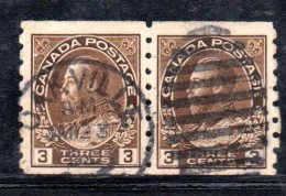 Y839 - CANADA' 1918 , Y&T N. 110Ba Dent 8 Verticale Coppia Usata - 1911-1935 Règne De George V