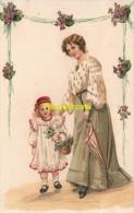 CPA FEMME & FILLE ** LITTLE GIRL & WOMAN LADY ** V W 6132 - Groupes D'enfants & Familles