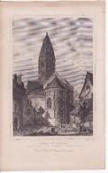 SELESTAT-SCHLETTSTADT (Bas-Rhin) Eglise Saint-Foy-Lavandière Au Travail- GRAVURE D'Epoque Retirée D'un Livre Vers 1860 - Vieux Papiers
