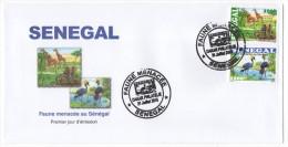 Sénégal 2015 FDC Enveloppe 1er Jour Faune Menacée Threatened Fauna éléphants Girafes Birds Oiseaux Elephants Giraffe