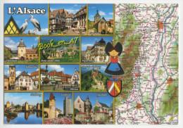 {76495} L' Alsace , Au Pays Des Cigognes , Carte Et Multivues ; Strasbourg Eguisheim Kaysersberg Turckheim Obernai - Cartes Géographiques