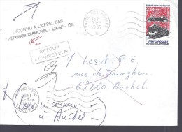 """Oblitération Militaire BPM  Et Auchel (62) Avec Cachet """"retour à L´envoyeur"""" , 1987, - Marcophilie (Lettres)"""
