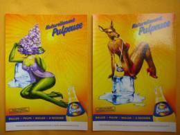 LOT De 2 Cartes Publicitaires De ORANGINA Biche érotique & Femme Nuisette Lilas - Pubblicitari