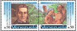 Jose Gregorio Monagas, Slave Couple, Abolition Of Slavery, Hands Free Mfrom Chain SS MNH Venezuela - Venezuela