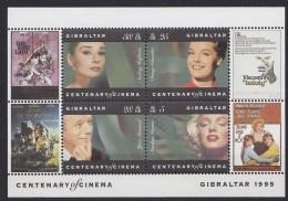 1995 GIBRALTAR  Marilyn Monroe, Audrey Hepburn, Romy Schneider, Yves Montand ** MNH . . . . [BP56]