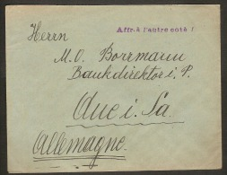 Brief Van BRUXELLES / BRUSSEL Naar DUITSLAND Met ZELDZAME GRIFFE Affr. à L´autre Coté ! Inzet 15 € ! - 1922-1927 Houyoux