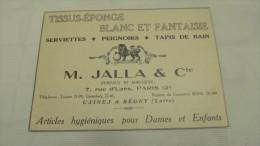 TISSUS-EPONGE BLANC ET FANTAISIE-M. JALLA & Cie-REGNY- PUBLICITE DE 1934 ISSUE DE L´ANNUAIRE BLEU DU COMMERCE INT. - Reclame