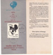 Stamped Info., Africa Fund, Map, India 1987 - India