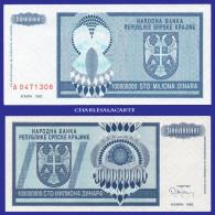 1993  CROATIA KRAJINA  100 MILLION DINARA SERIAL No....306  KRAUSE R15 UNC. CONDITION - Croatia