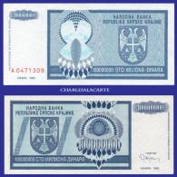 1993  CROATIA KRAJINA  100 MILLION DINARA SERIAL No....309  KRAUSE R15 UNC. CONDITION - Croatie