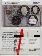 NORWAY PHONECARD MYNTER,COIN SHOW 10/93-3000pcs- No 20-MINT/SEALED(2) - Timbres & Monnaies