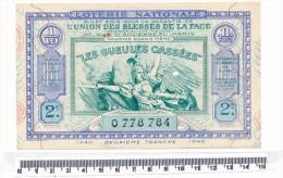Billet De La Loterie Nationale - Les Gueules Cassées, 1940 - Billetes De Lotería