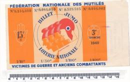 Billet De La Loterie Nationale - Billet Jumo, 1940 - Billetes De Lotería