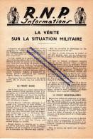 Militaria Et Politique, -R.N.P, Rassemblement National Populaire,la Vérité Sur La Situation Militaire 1942. Recto /verso - Militaria