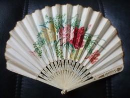Ancien EVENTAIL - Peint Décor Floral - Os - Eventails
