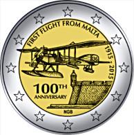 2 EURO COMMEMORATIVE MALTE MALTA 2015 PRIMO VOLO PREMIER VOL - Malte
