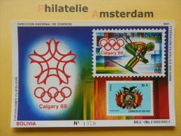 Bolivia 1987, OLYMPICS CALGARY / COAT OF ARMS: Mi 843, Bl. 165, ** - Winter 1988: Calgary