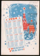 Russia  USSR 1964 New Year ! The Kremlin, Moscow (postcard) - Calendriers