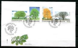 """First Day Cover Dänemark 1999 Mi. Nr.1199/1202 Ersttagsbrief""""Einheimische Bäume-Buche,Esche Und Eiche"""" 1 FDC - Alberi"""